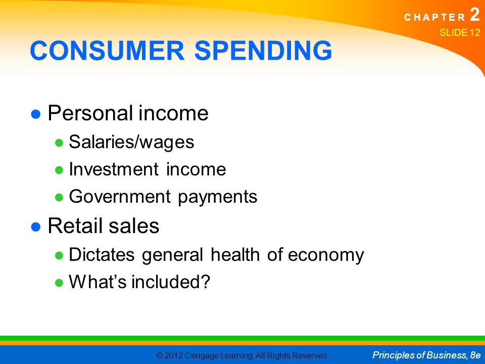CONSUMER SPENDING Personal income Retail sales Salaries/wages
