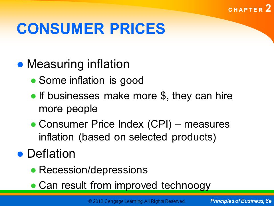 CONSUMER PRICES Measuring inflation Deflation Some inflation is good