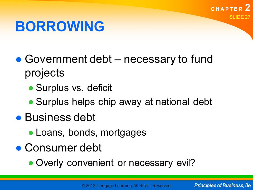 BORROWING Government debt – necessary to fund projects Business debt