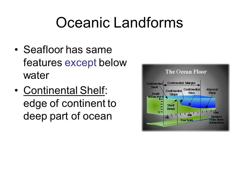 Oceanic Landforms Seafloor has same features except below water