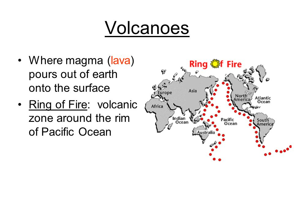 Volcanoes Where magma (lava) pours out of earth onto the surface