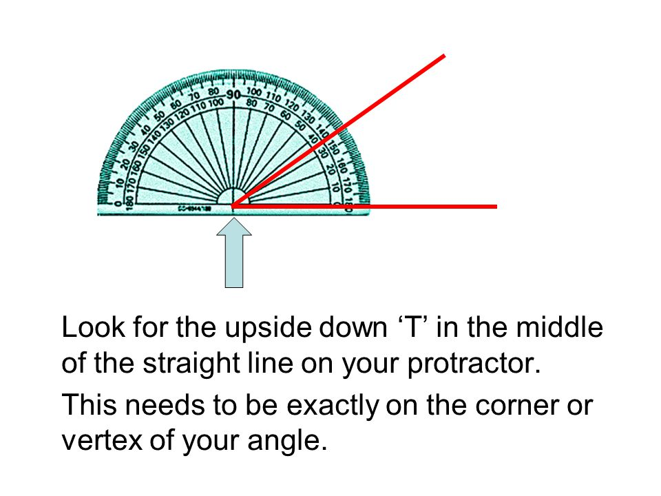 Look for the upside down 'T' in the middle of the straight line on your protractor.