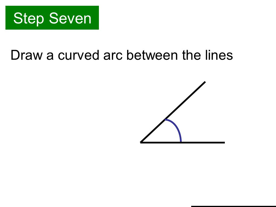 Step Seven Draw a curved arc between the lines
