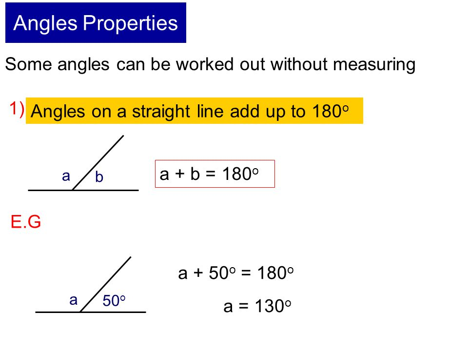 Angles Properties Some angles can be worked out without measuring 1)