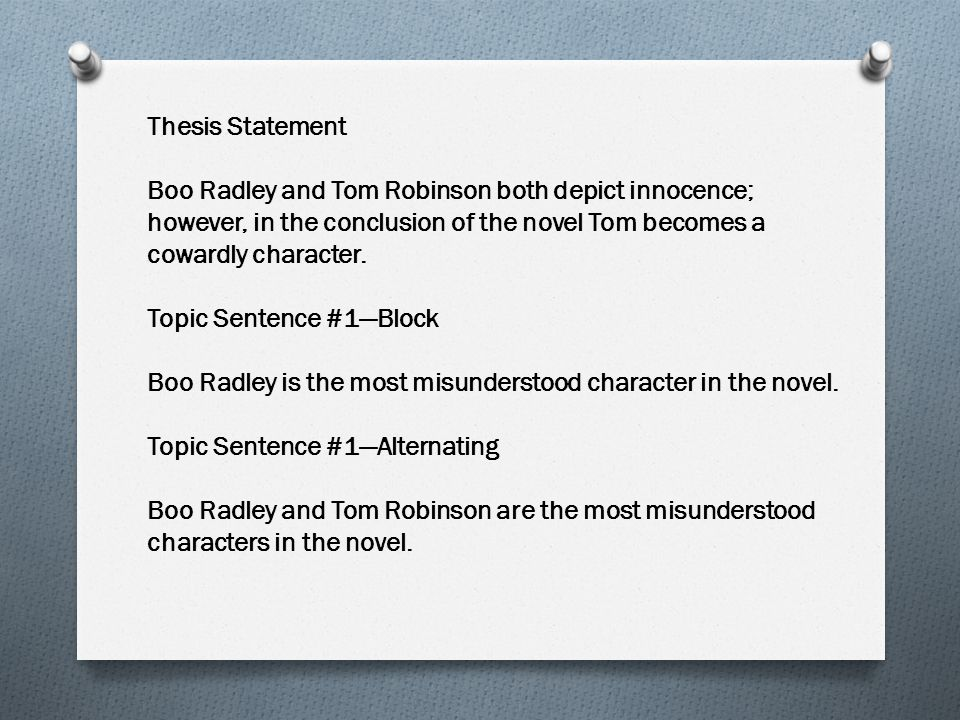Thesis Statement Boo Radley and Tom Robinson both depict innocence; however, in the conclusion of the novel Tom becomes a cowardly character.