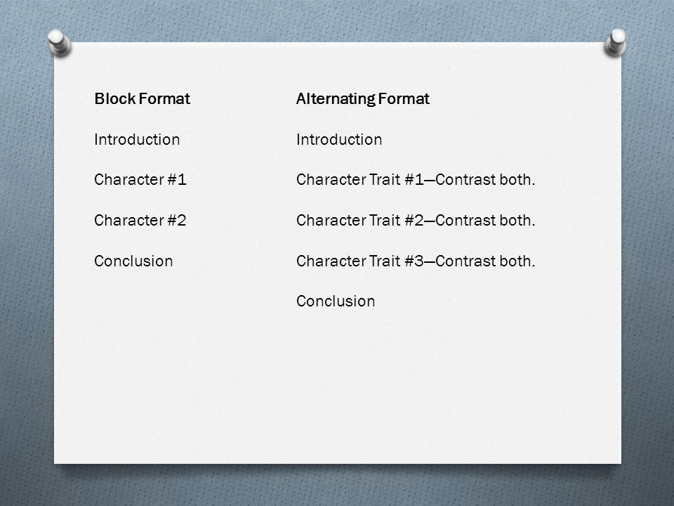 Block Format Alternating Format