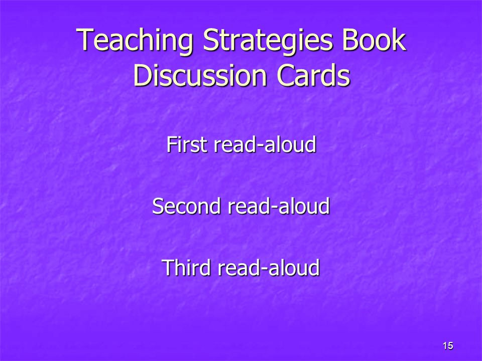 Teaching Strategies Book Discussion Cards