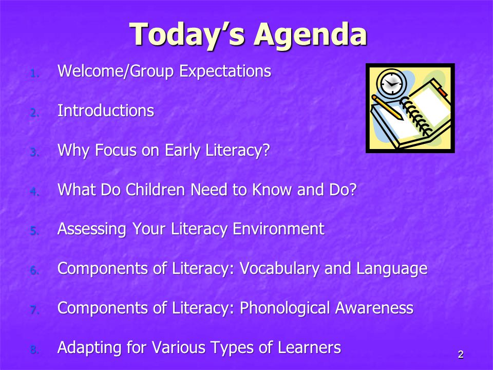 Today's Agenda Welcome/Group Expectations Introductions