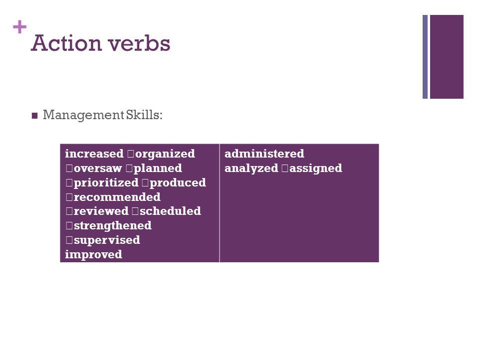 Action verbs Management Skills: