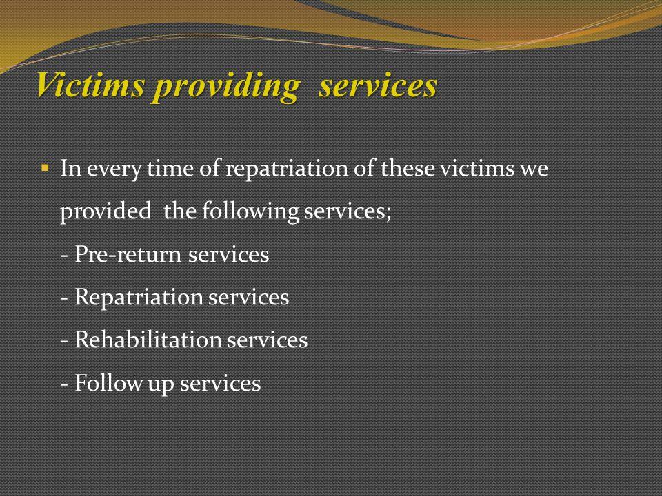 Victims providing services