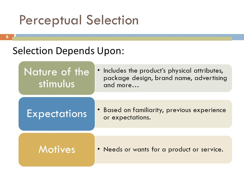 Perceptual Selection Selection Depends Upon: Nature of the stimulus