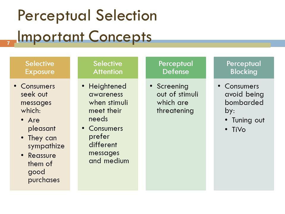 Perceptual Selection Important Concepts