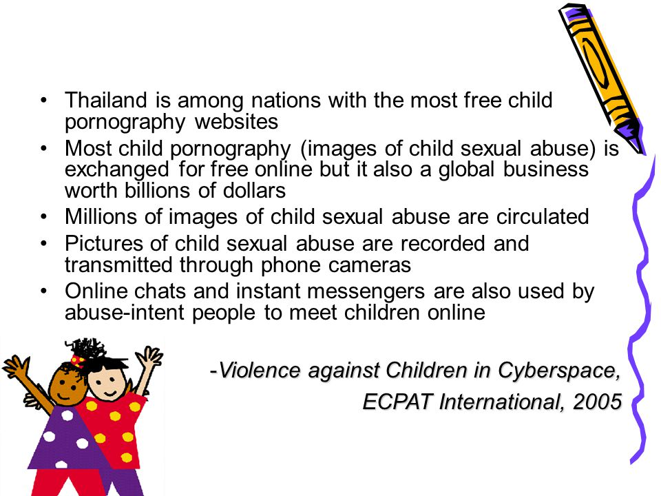 Thailand is among nations with the most free child pornography websites