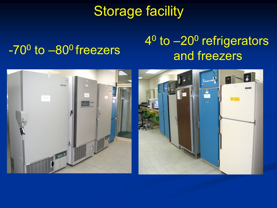 Storage facility 40 to –200 refrigerators and freezers