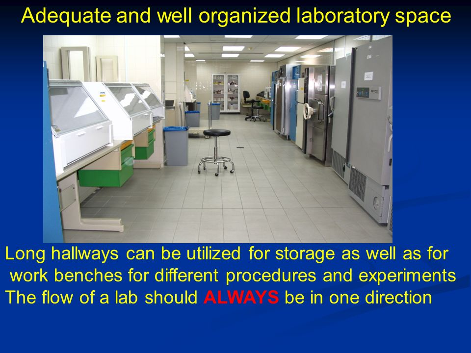 Adequate and well organized laboratory space