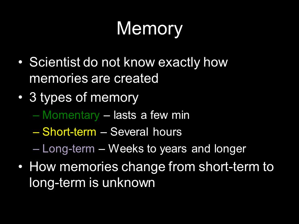 Memory Scientist do not know exactly how memories are created