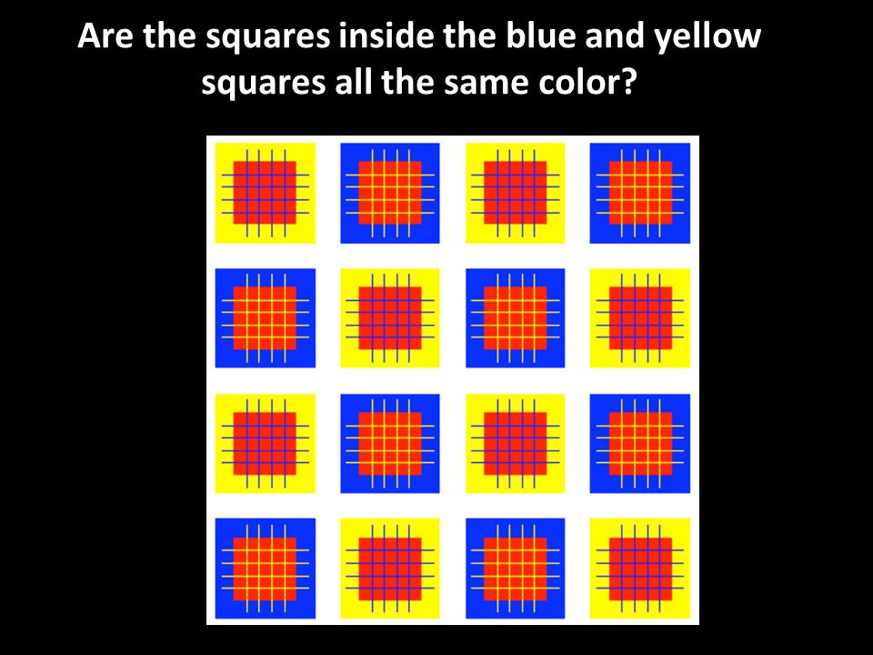 Are the squares inside the blue and yellow squares all the same color