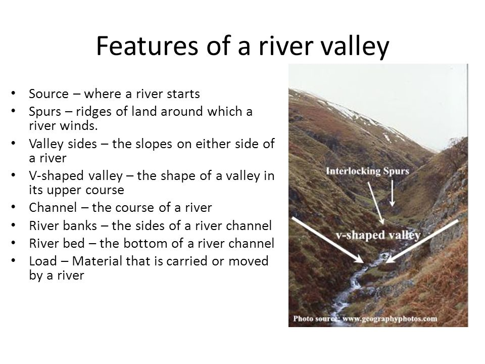 Features of a river valley