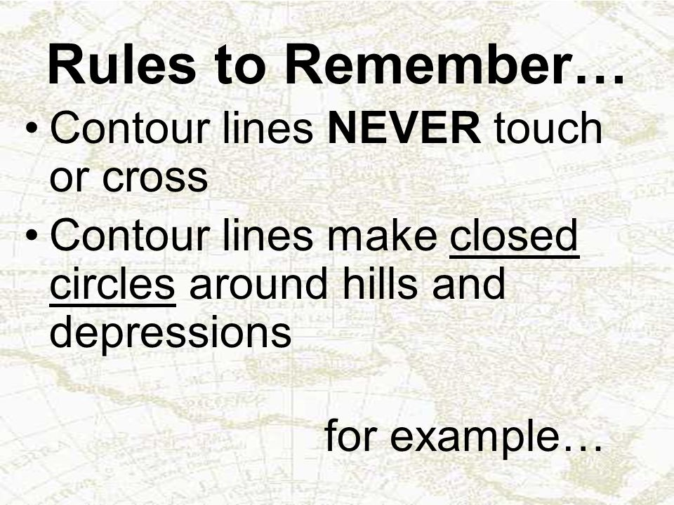 Rules to Remember… Contour lines NEVER touch or cross