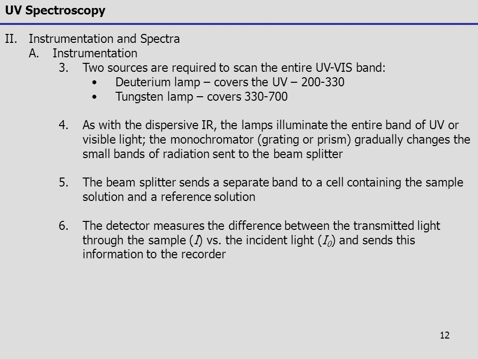 UV Spectroscopy Instrumentation and Spectra. Instrumentation. Two sources are required to scan the entire UV-VIS band: