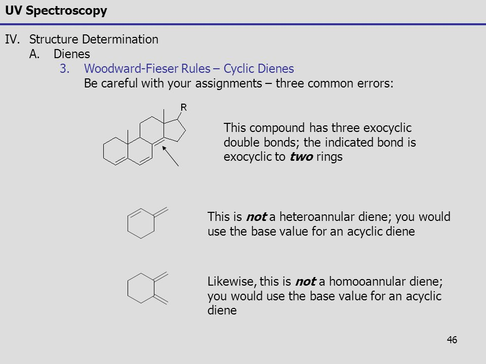 UV Spectroscopy Structure Determination. Dienes. Woodward-Fieser Rules – Cyclic Dienes. Be careful with your assignments – three common errors: