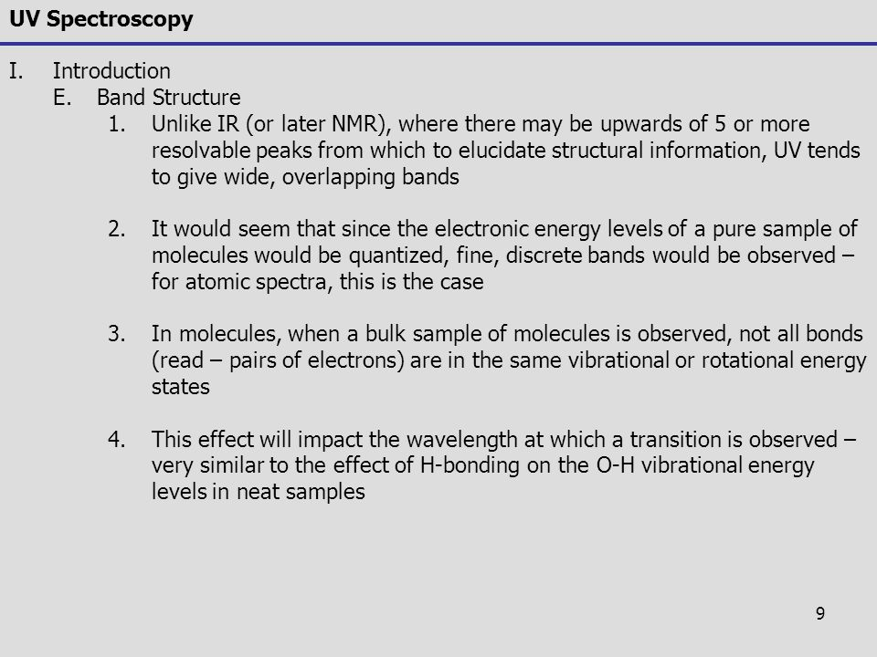 UV Spectroscopy Introduction. Band Structure.