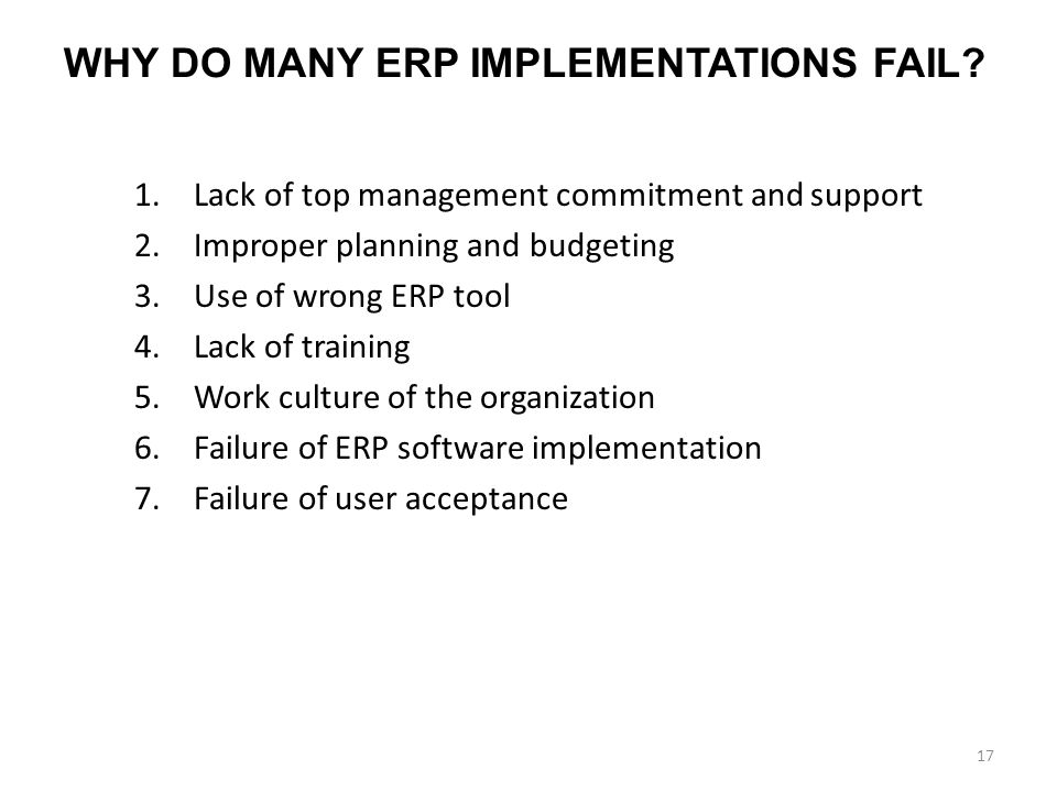 WHY DO MANY ERP IMPLEMENTATIONS FAIL