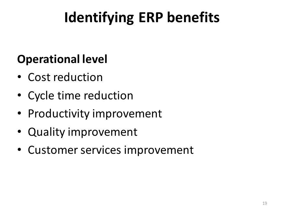 Identifying ERP benefits