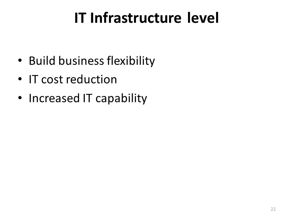 IT Infrastructure level