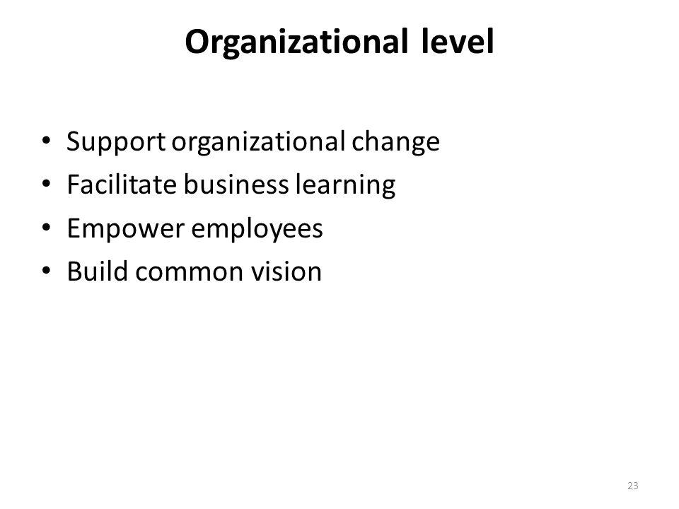 Organizational level Support organizational change