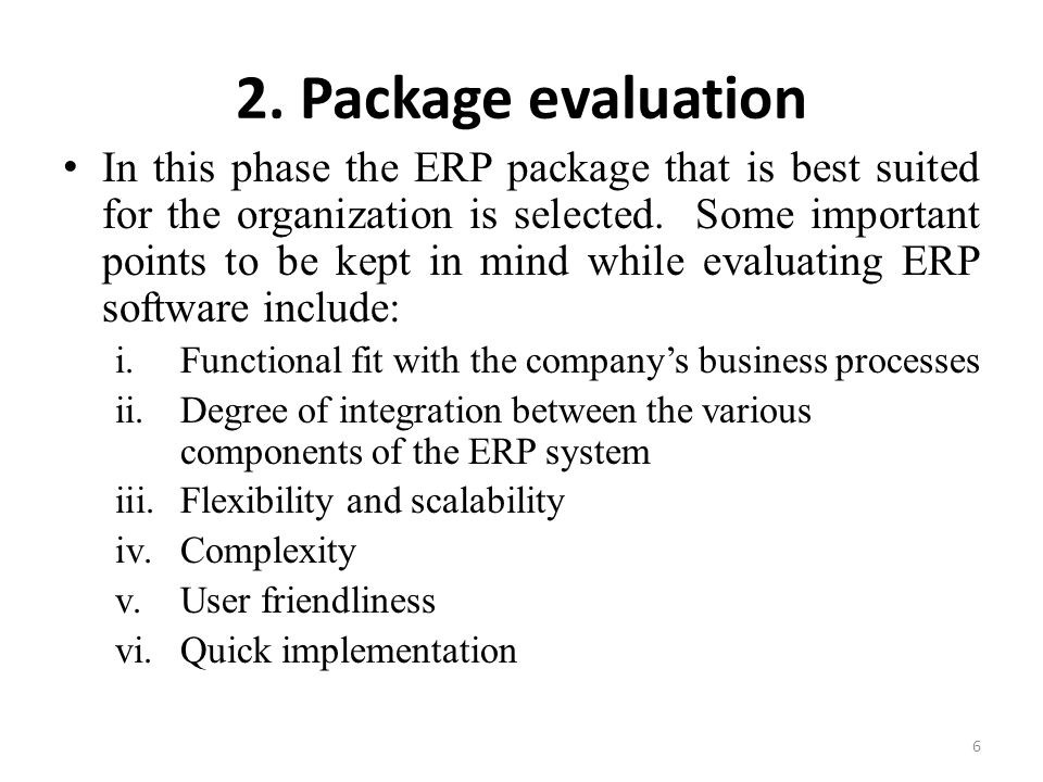 2. Package evaluation