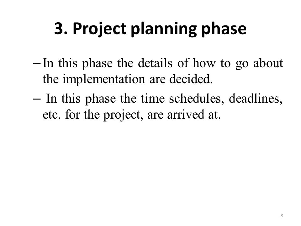 3. Project planning phase