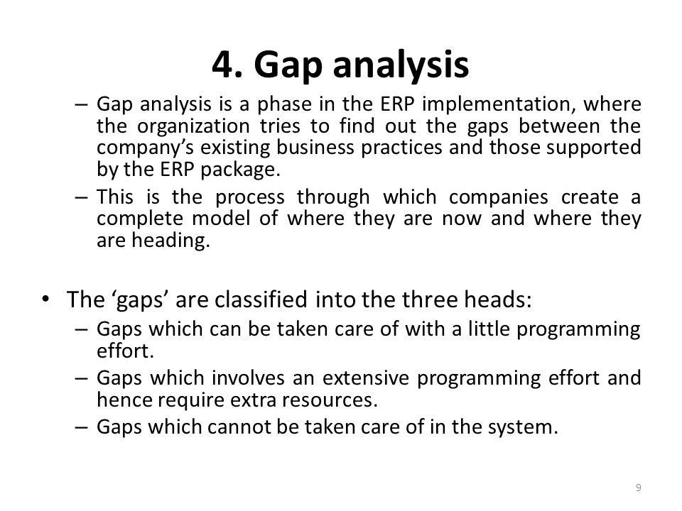 4. Gap analysis The 'gaps' are classified into the three heads: