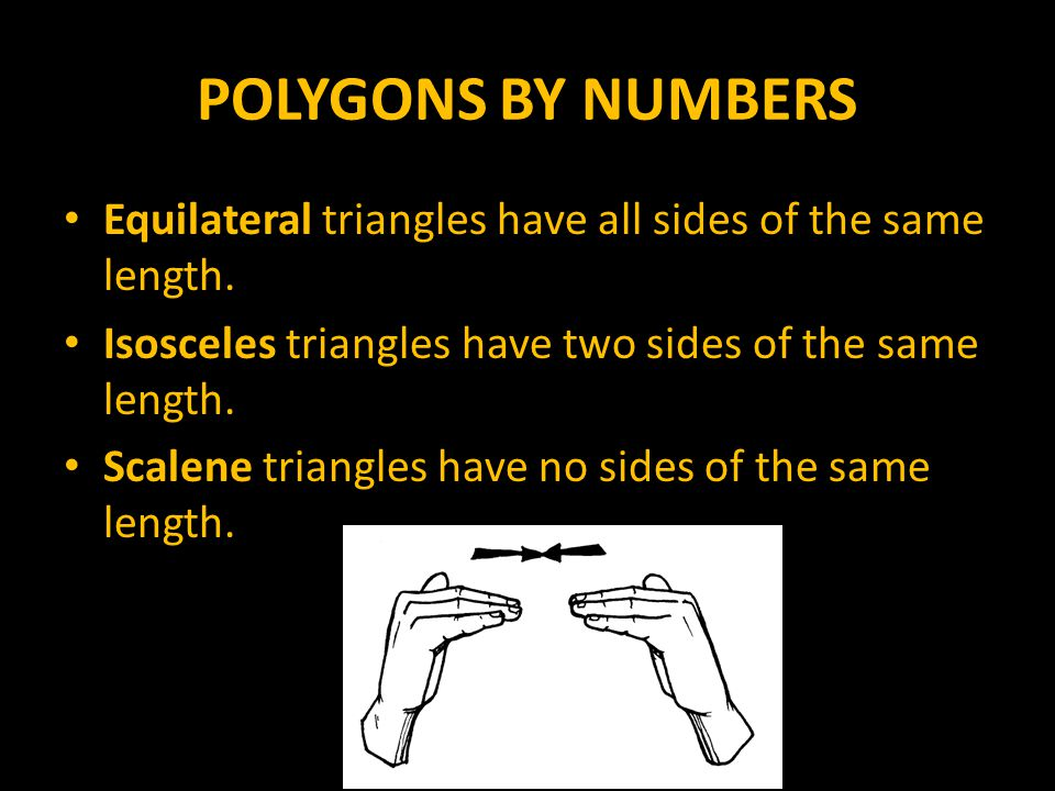 POLYGONS BY NUMBERS Equilateral triangles have all sides of the same length. Isosceles triangles have two sides of the same length.