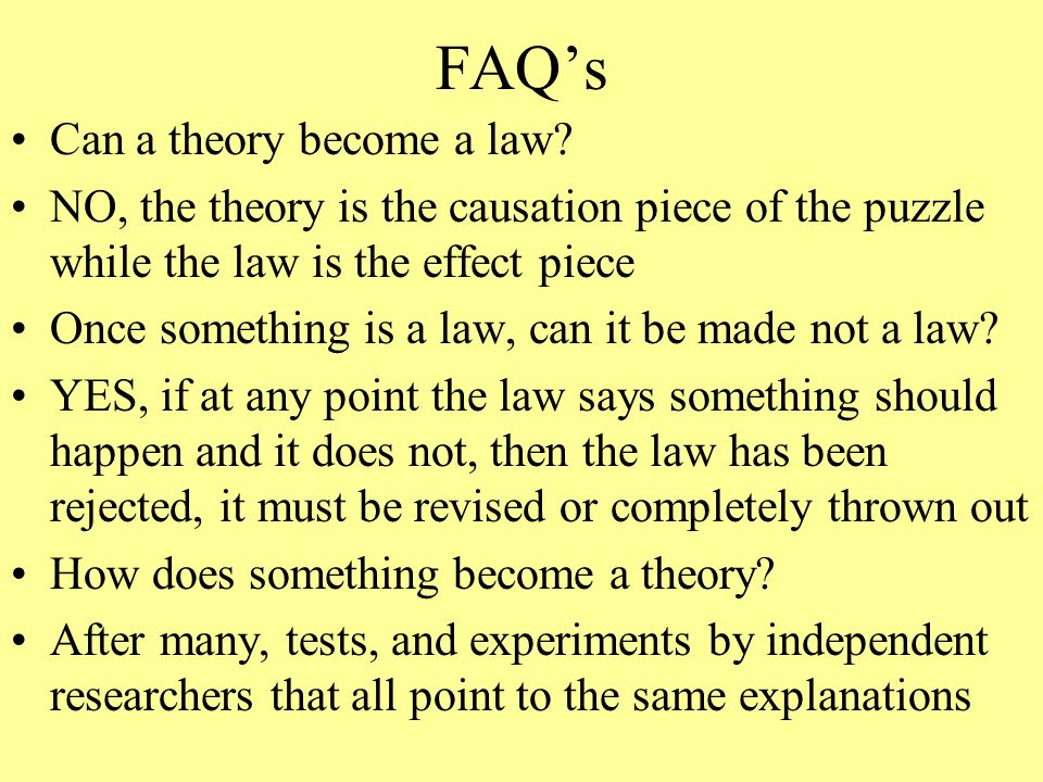 FAQ's Can a theory become a law