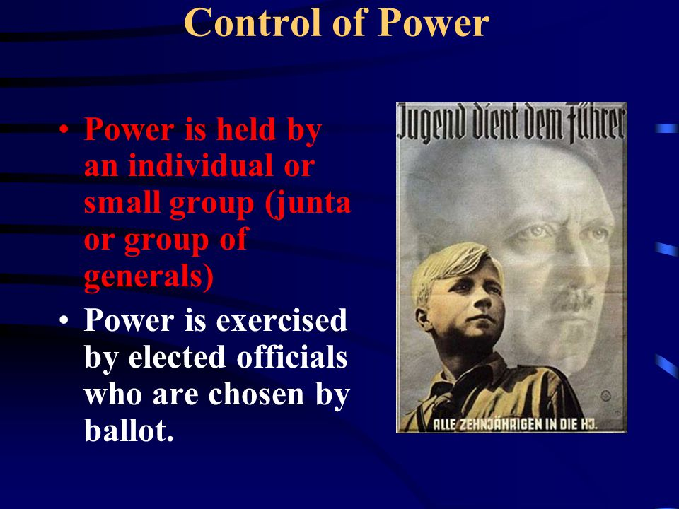 Control of Power Power is held by an individual or small group (junta or group of generals)