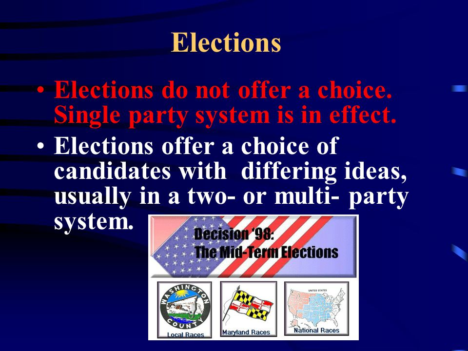 Elections Elections do not offer a choice. Single party system is in effect.