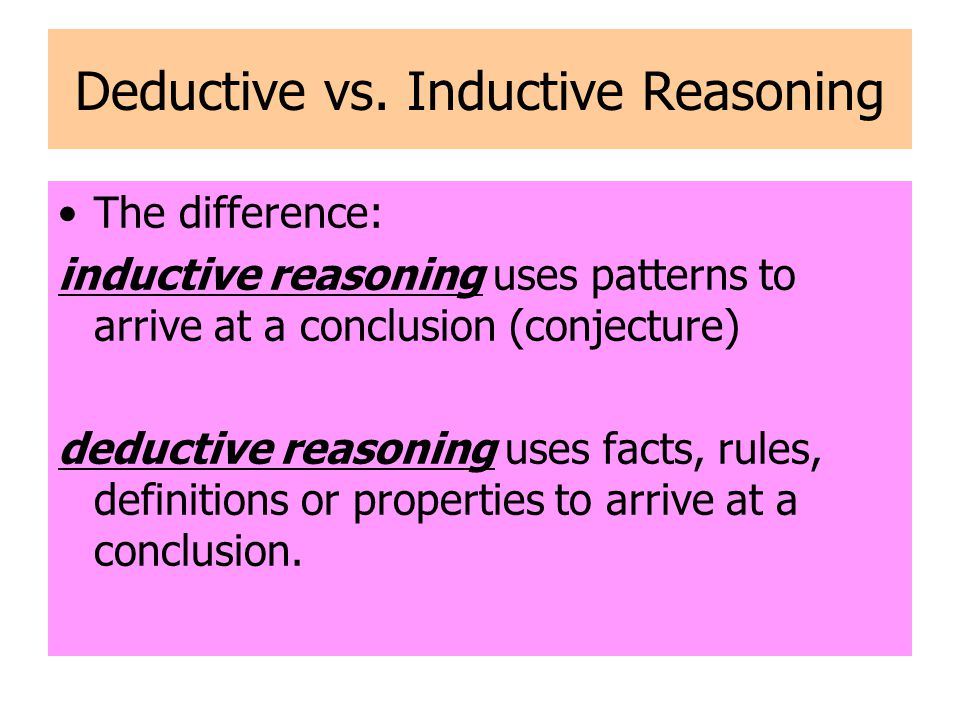Deductive vs. Inductive Reasoning