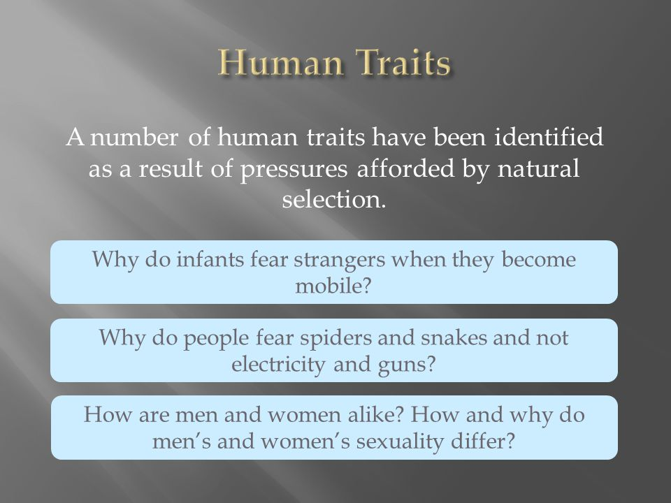 Human Traits A number of human traits have been identified as a result of pressures afforded by natural selection.