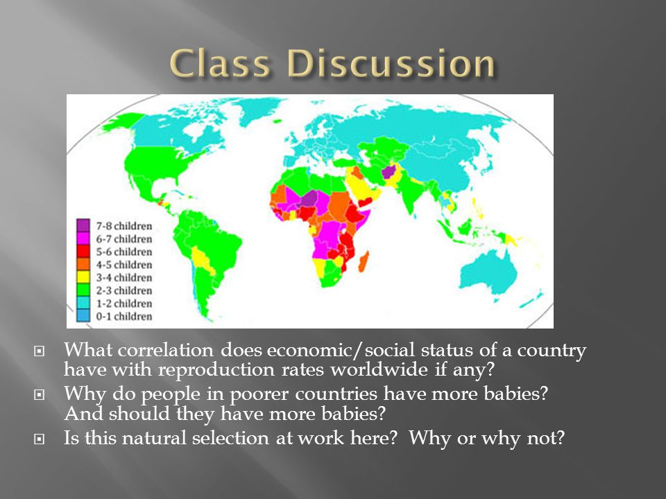 Class Discussion What correlation does economic/social status of a country have with reproduction rates worldwide if any