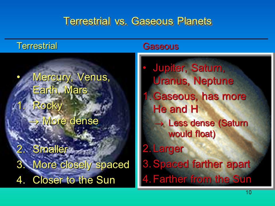 Terrestrial vs. Gaseous Planets