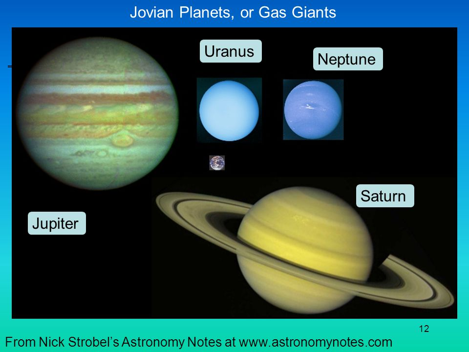 Jovian Planets, or Gas Giants
