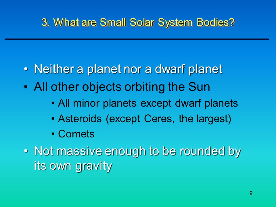 3. What are Small Solar System Bodies