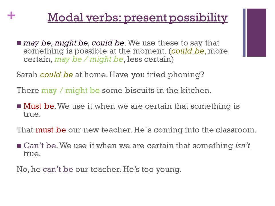 Modal verbs: present possibility