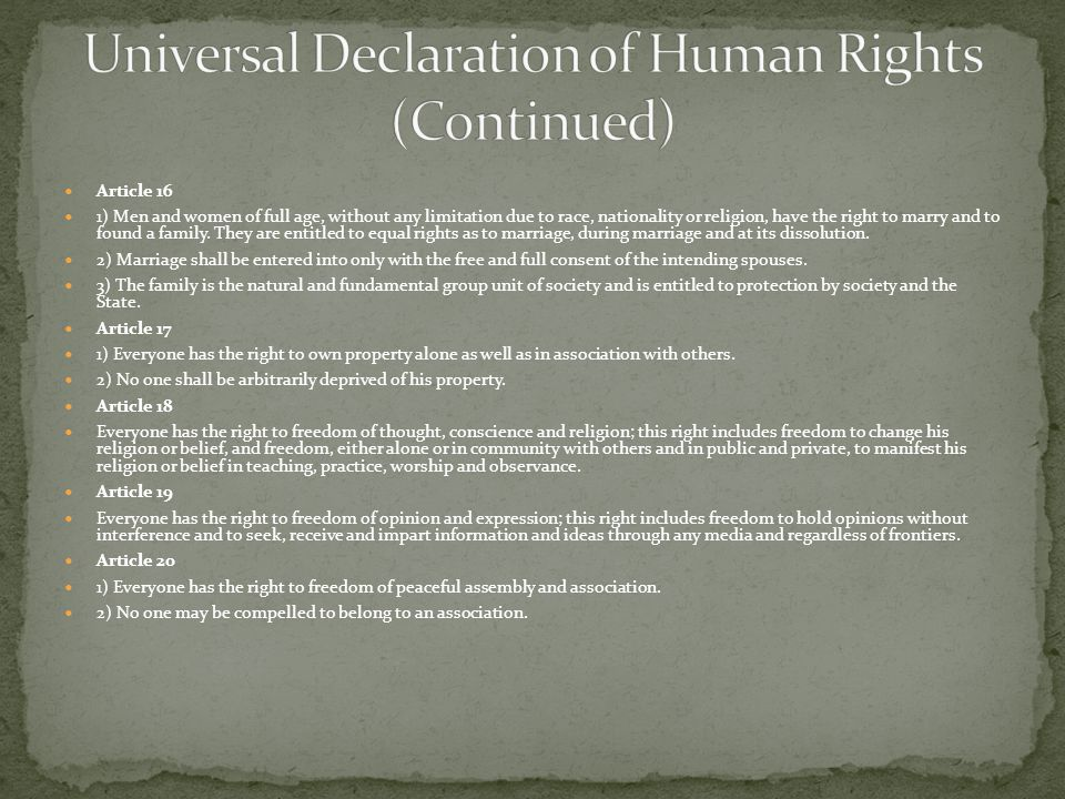 Universal Declaration of Human Rights (Continued)