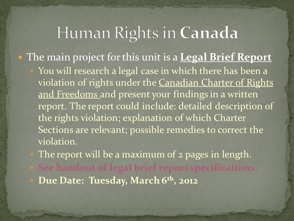 Human Rights in Canada The main project for this unit is a Legal Brief Report.