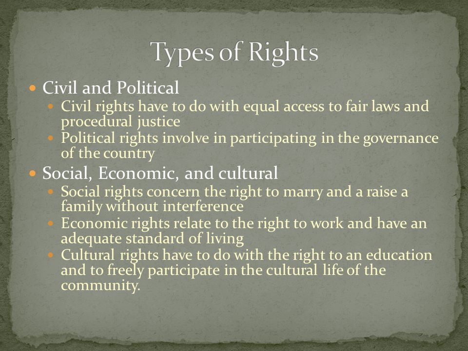 Types of Rights Civil and Political Social, Economic, and cultural