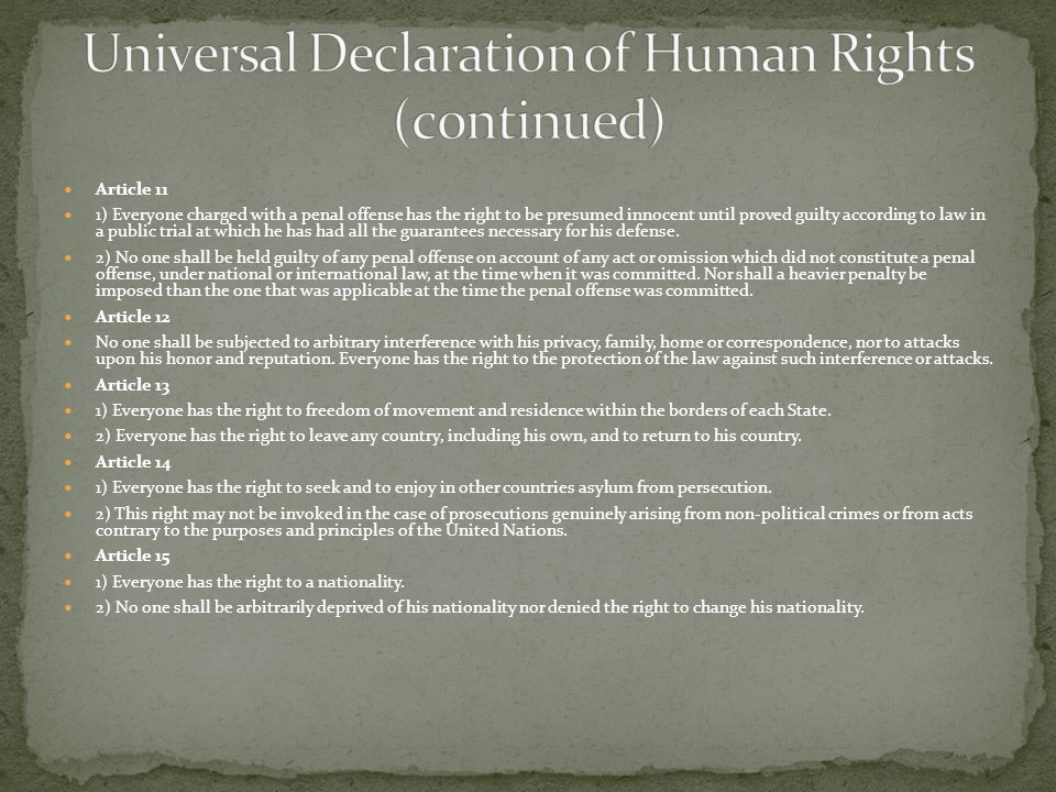 Universal Declaration of Human Rights (c0ntinued)