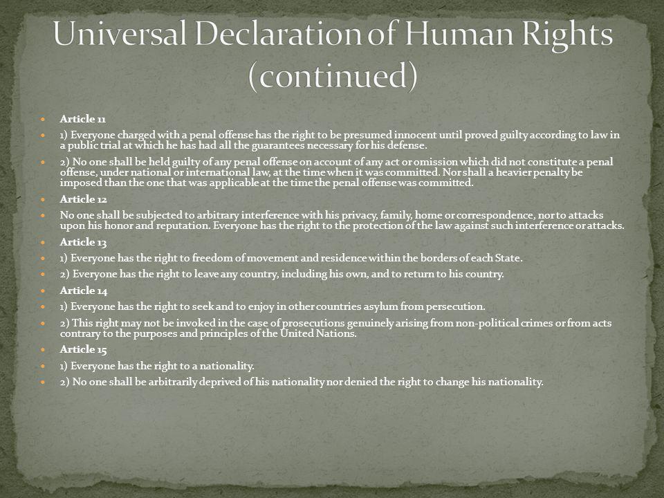 Universal Declaration of Human Rights (c0ntinued)