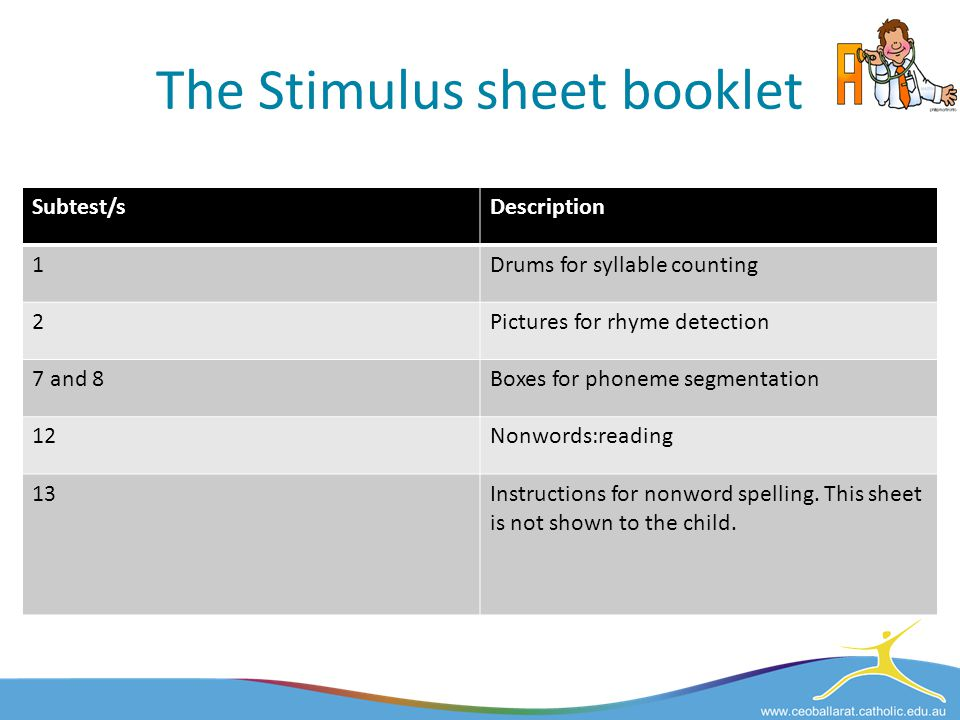 The Stimulus sheet booklet